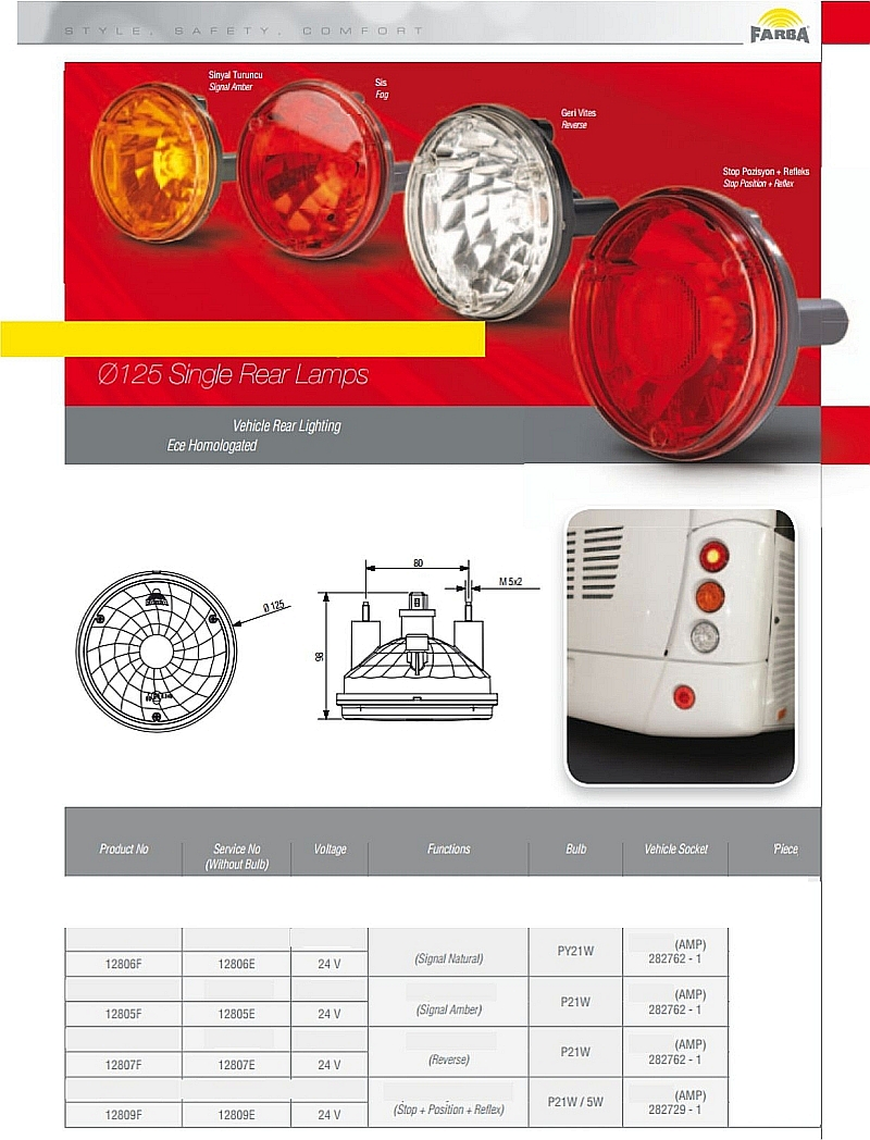 Single Rear lamps