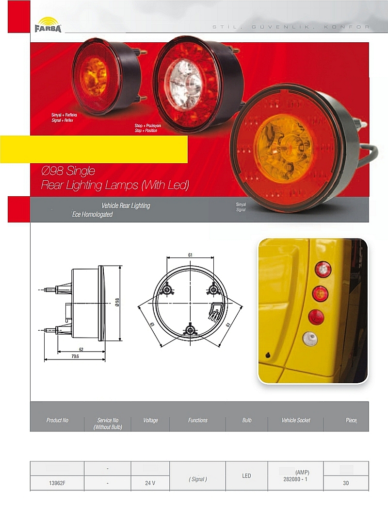 Single rear light lamps